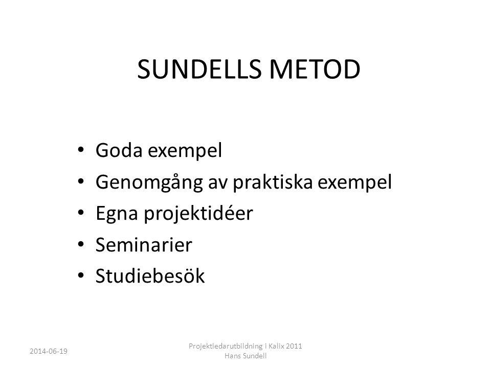 SUNDELLS METOD • Goda exempel • Genomgång av praktiska exempel • Egna projektidéer • Seminarier • Studiebesök 2014-06-19 Projektledarutbildning i Kalix 2011 Hans Sundell