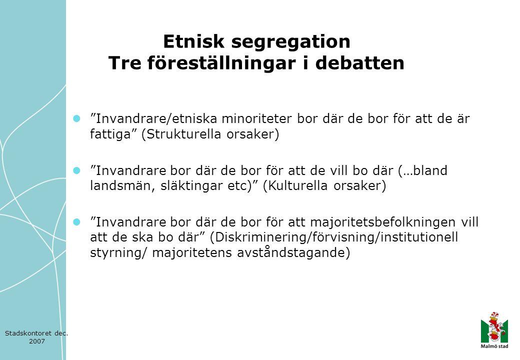  När vi väger samman resultaten av den statistiska analysen av bosättningsmönster och flyttningar i Malmö stad och i regionen med den erfarenhet som tjänstemän och politiker redovisar, är det några slutsatser som är särskilt viktiga.