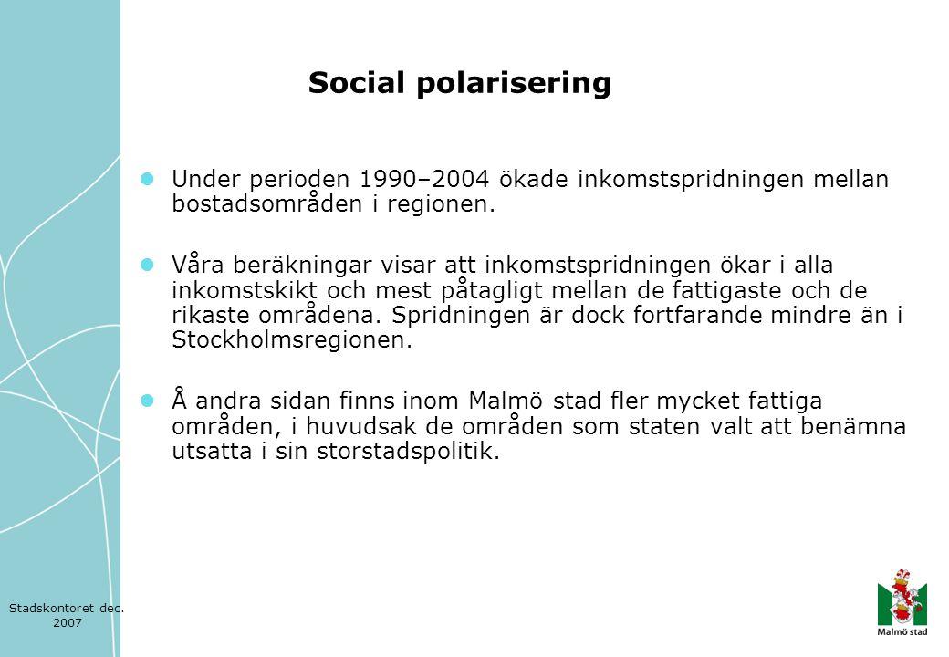  Mellan 11 och 14 procent av Malmö stads befolkning lämnar sitt bostadsområde varje år.