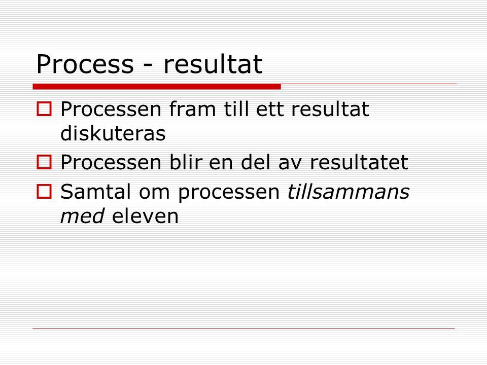Process - resultat  Processen fram till ett resultat diskuteras  Processen blir en del av resultatet  Samtal om processen tillsammans med eleven