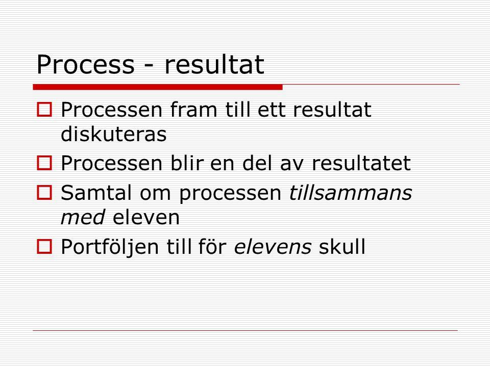 Process - resultat  Processen fram till ett resultat diskuteras  Processen blir en del av resultatet  Samtal om processen tillsammans med eleven  Portföljen till för elevens skull