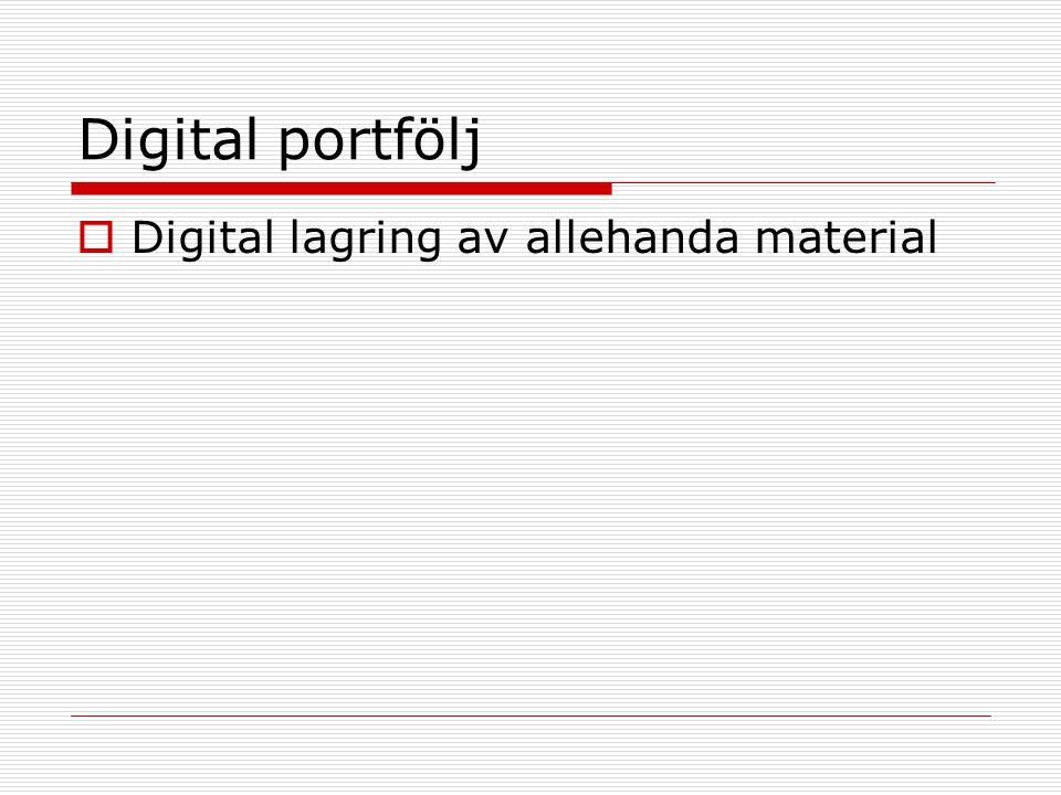 Digital portfölj  Digital lagring av allehanda material