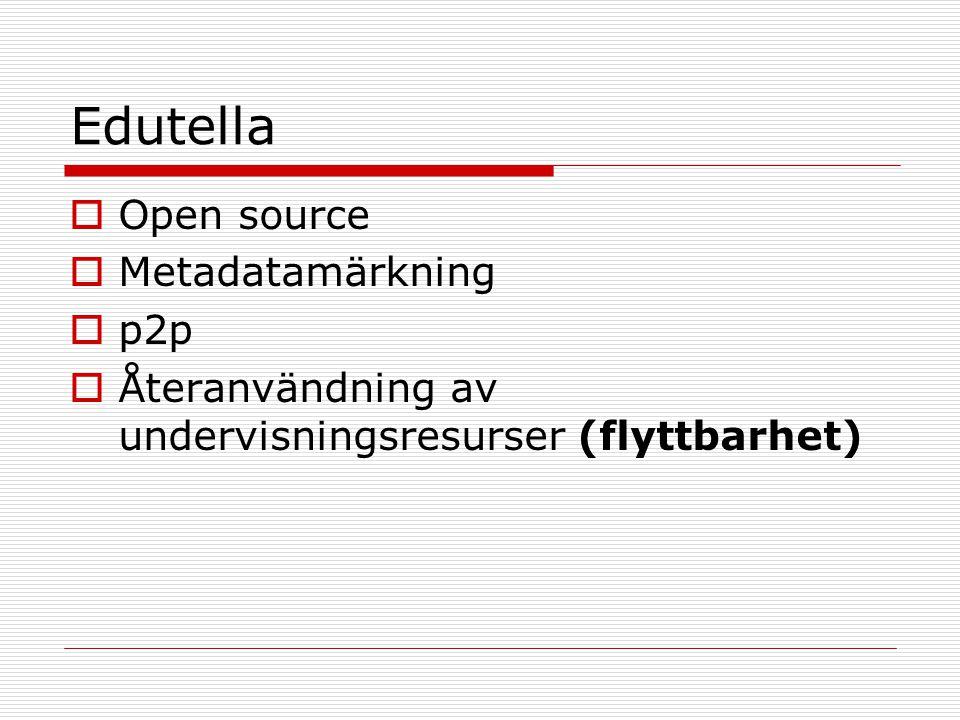 Edutella  Open source  Metadatamärkning  p2p  Återanvändning av undervisningsresurser (flyttbarhet)