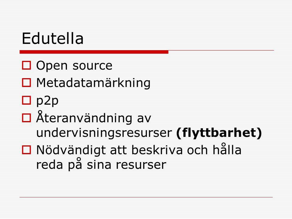 Edutella  Open source  Metadatamärkning  p2p  Återanvändning av undervisningsresurser (flyttbarhet)  Nödvändigt att beskriva och hålla reda på sina resurser