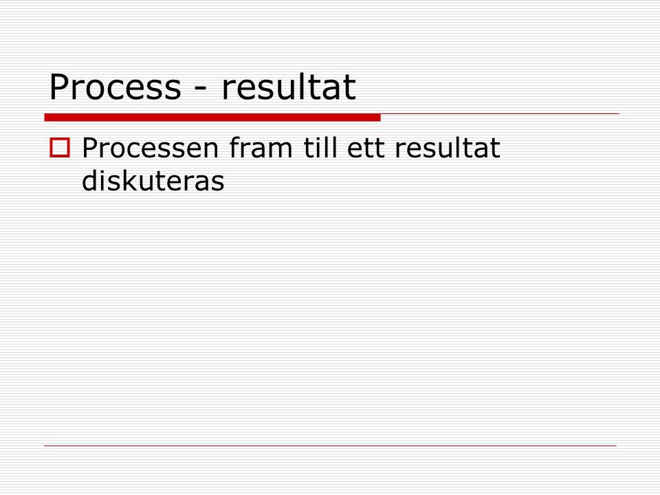 Process - resultat  Processen fram till ett resultat diskuteras
