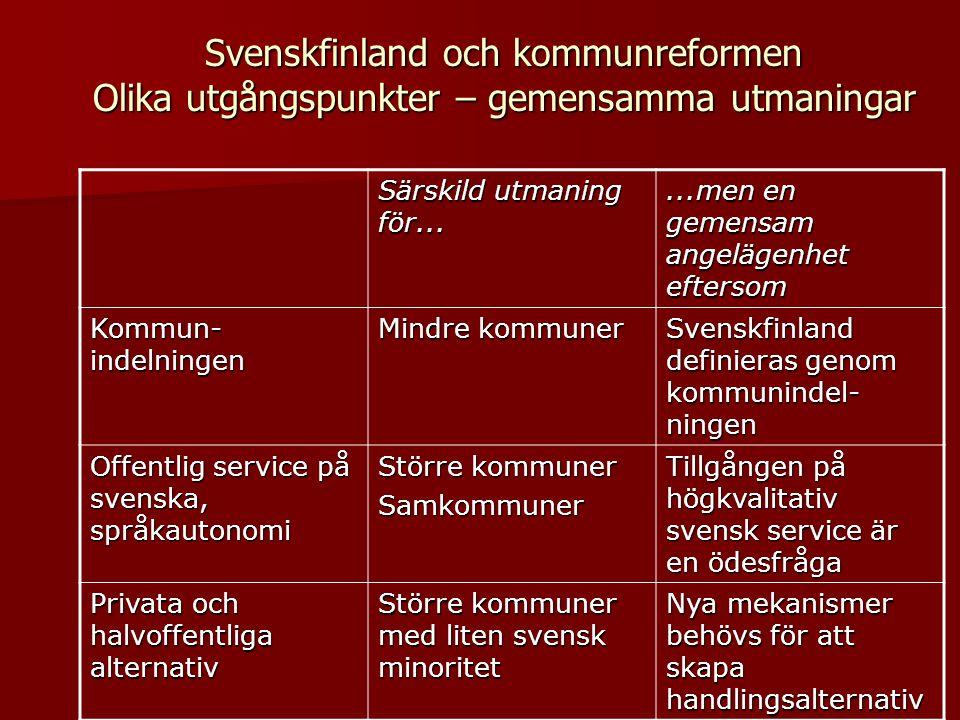 Svenskfinland och kommunreformen Olika utgångspunkter – gemensamma utmaningar Särskild utmaning för......men en gemensam angelägenhet eftersom Kommun-