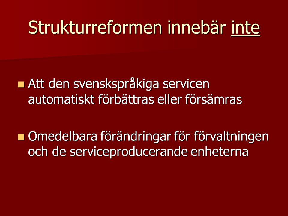 Strukturreformen innebär inte  Att den svenskspråkiga servicen automatiskt förbättras eller försämras  Omedelbara förändringar för förvaltningen och