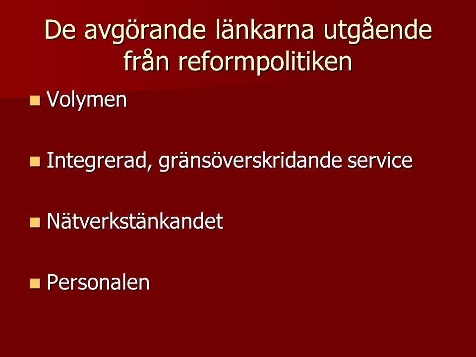 De avgörande länkarna utgående från reformpolitiken  Volymen  Integrerad, gränsöverskridande service  Nätverkstänkandet  Personalen