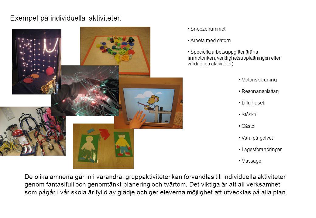 Exempel på individuella aktiviteter: • Snoezelrummet • Arbeta med datorn • Speciella arbetsuppgifter (träna finmotoriken, verklighetsuppfattningen eller vardagliga aktiviteter) De olika ämnena går in i varandra, gruppaktiviteter kan förvandlas till individuella aktiviteter genom fantasifull och genomtänkt planering och tvärtom.