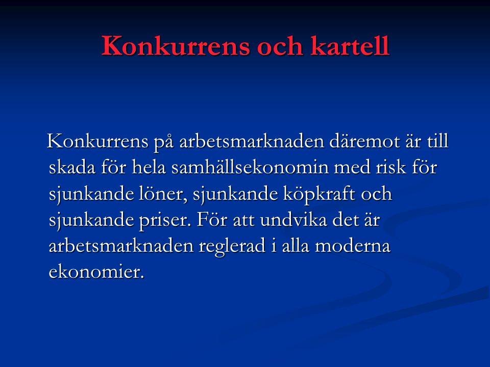 Konkurrens och kartell Konkurrens på arbetsmarknaden däremot är till skada för hela samhällsekonomin med risk för sjunkande löner, sjunkande köpkraft