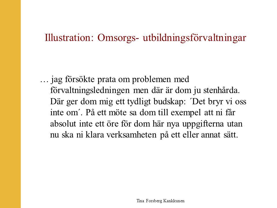 Tina Forsberg Kankkunen Illustration: Omsorgs- utbildningsförvaltningar … jag försökte prata om problemen med förvaltningsledningen men där är dom ju