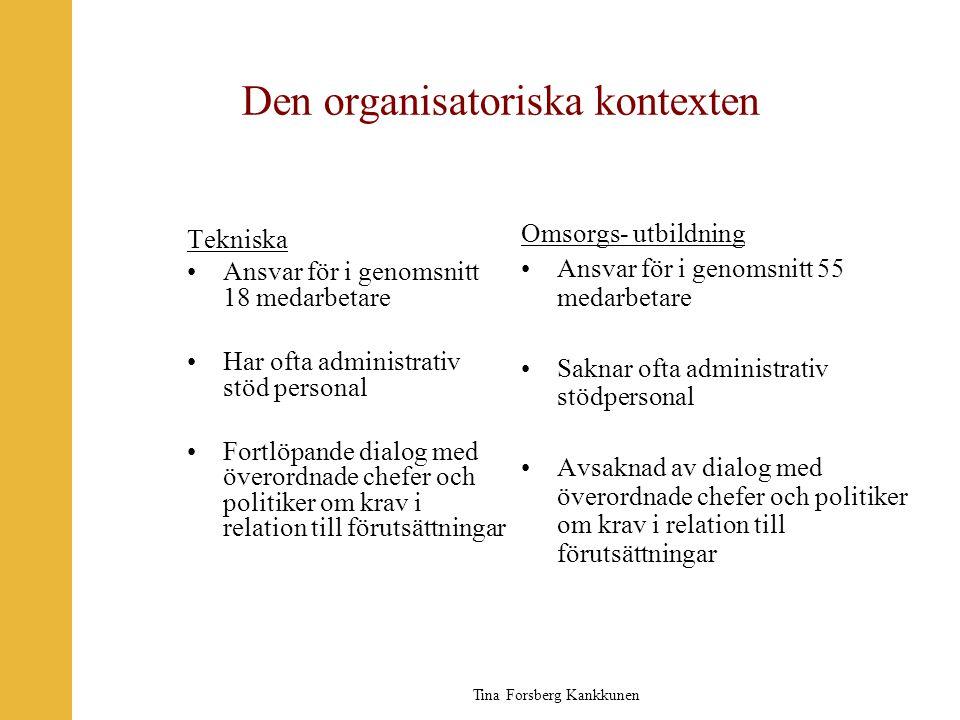 Tina Forsberg Kankkunen Den organisatoriska kontexten Tekniska •Ansvar för i genomsnitt 18 medarbetare •Har ofta administrativ stöd personal •Fortlöpa