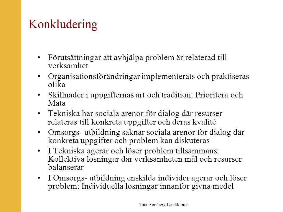Tina Forsberg Kankkunen Konkludering •Förutsättningar att avhjälpa problem är relaterad till verksamhet •Organisationsförändringar implementerats och