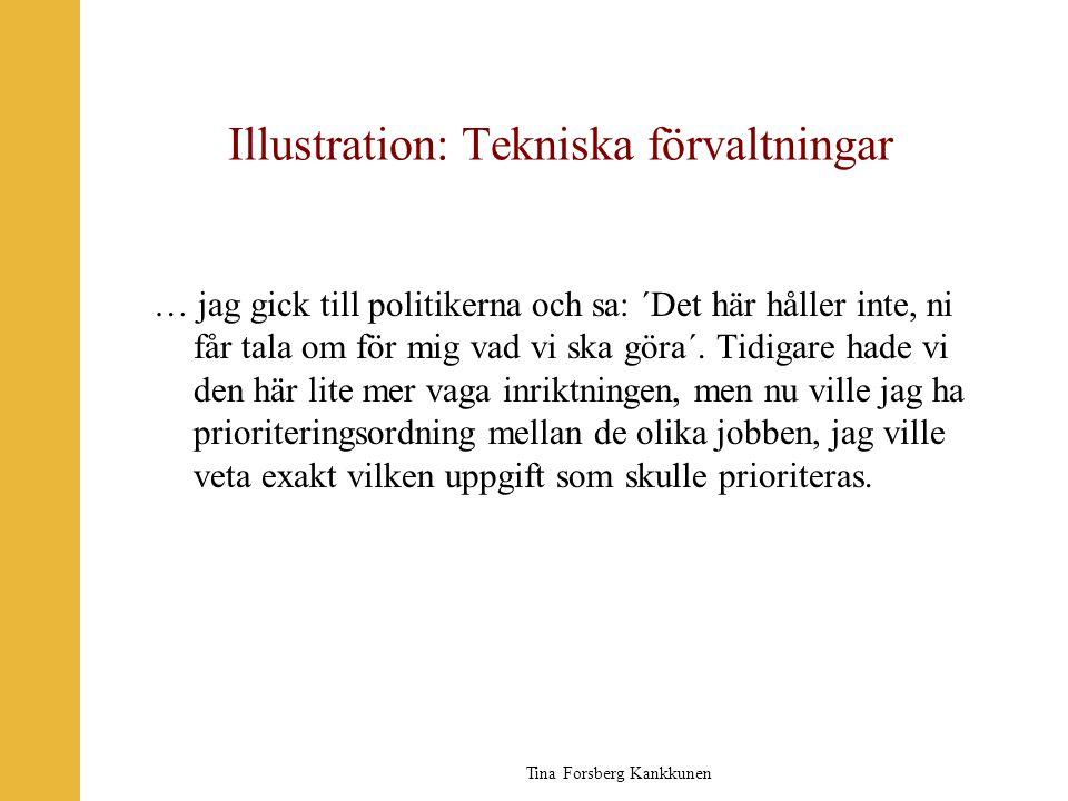Tina Forsberg Kankkunen Illustration: Tekniska förvaltningar … jag gick till politikerna och sa: ´Det här håller inte, ni får tala om för mig vad vi s