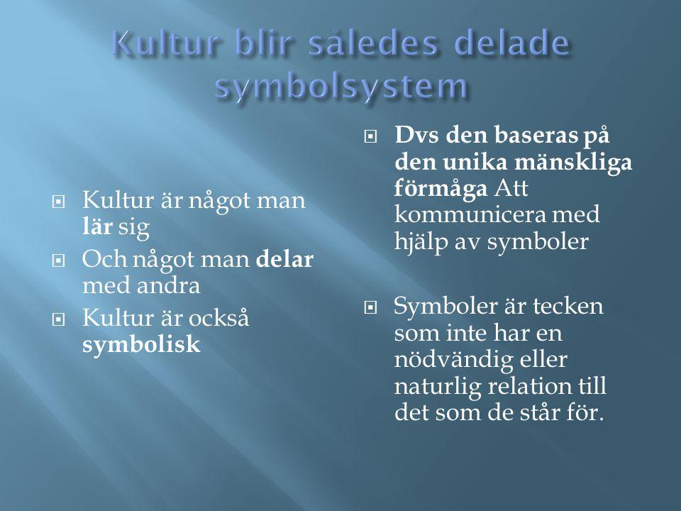  Kultur är något man lär sig  Och något man delar med andra  Kultur är också symbolisk  Dvs den baseras på den unika mänskliga förmåga Att kommuni