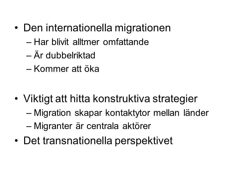 •Den internationella migrationen –Har blivit alltmer omfattande –Är dubbelriktad –Kommer att öka •Viktigt att hitta konstruktiva strategier –Migration