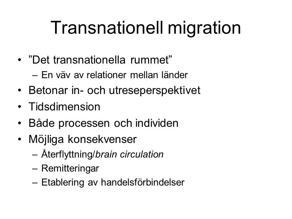 """Transnationell migration •""""Det transnationella rummet"""" –En väv av relationer mellan länder •Betonar in- och utreseperspektivet •Tidsdimension •Både pr"""