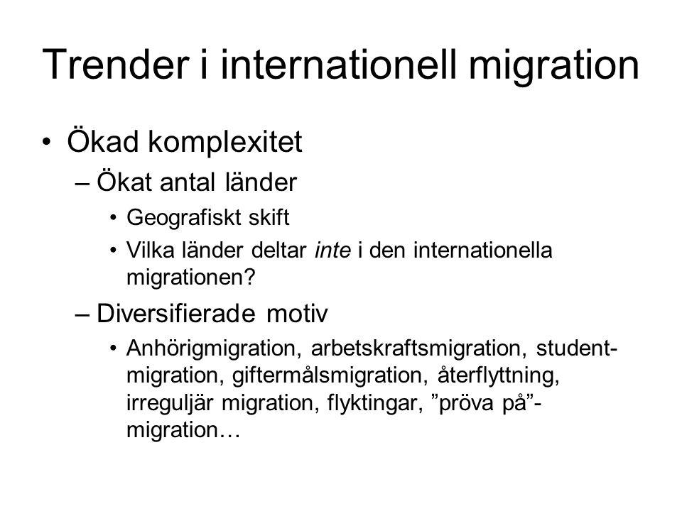 Trender i internationell migration •Ökad komplexitet –Ökat antal länder •Geografiskt skift •Vilka länder deltar inte i den internationella migrationen