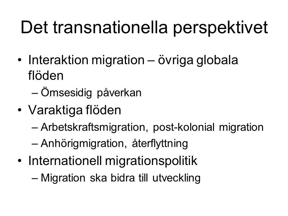 Det transnationella perspektivet •Interaktion migration – övriga globala flöden –Ömsesidig påverkan •Varaktiga flöden –Arbetskraftsmigration, post-kol