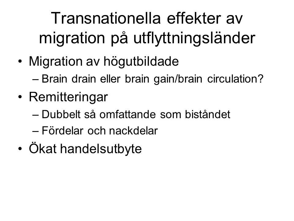 Transnationella effekter av migration på utflyttningsländer •Migration av högutbildade –Brain drain eller brain gain/brain circulation? •Remitteringar