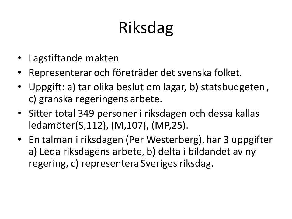 Riksdag • Lagstiftande makten • Representerar och företräder det svenska folket. • Uppgift: a) tar olika beslut om lagar, b) statsbudgeten, c) granska