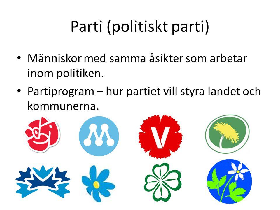 Parti (politiskt parti) • Människor med samma åsikter som arbetar inom politiken. • Partiprogram – hur partiet vill styra landet och kommunerna.