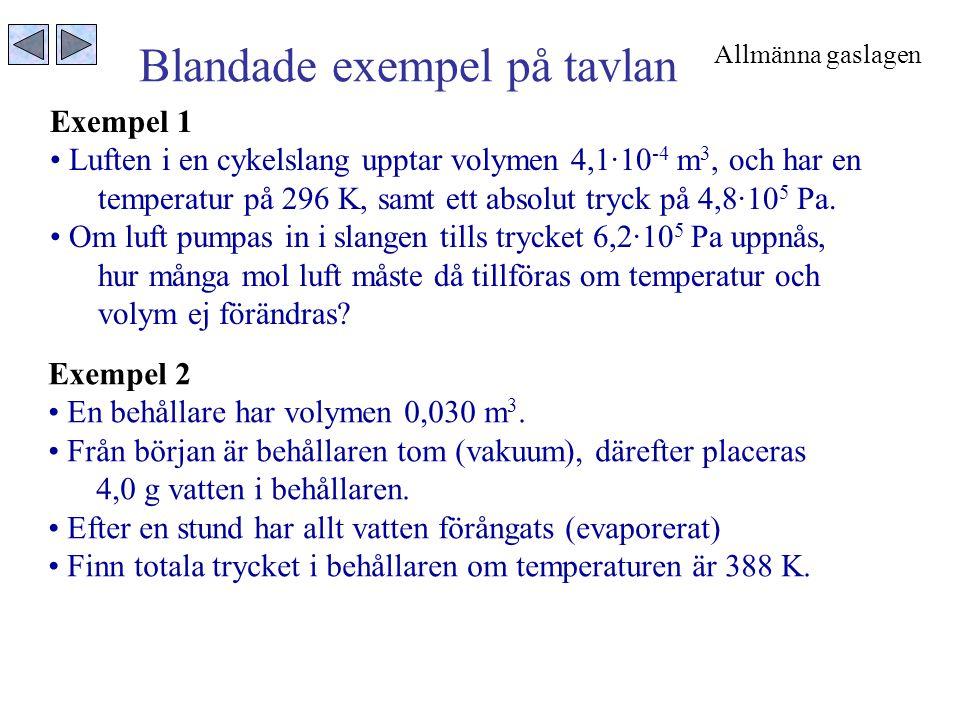 Blandade exempel på tavlan Exempel 2 • En behållare har volymen 0,030 m 3. • Från början är behållaren tom (vakuum), därefter placeras 4,0 g vatten i