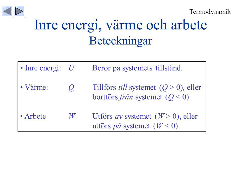 Inre energi, värme och arbete Beteckningar Termodynamik • Inre energi:UBeror på systemets tillstånd. • Värme:QTillförs till systemet (Q > 0), eller bo