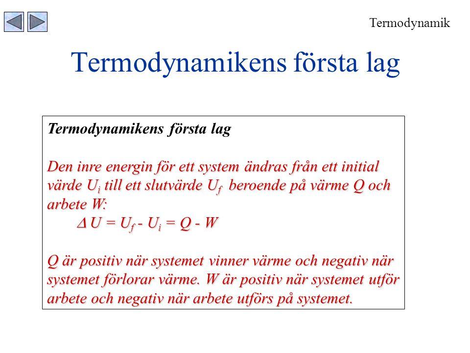 Termodynamikens första lag Den inre energin för ett system ändras från ett initial värde U i till ett slutvärde U f beroende på värme Q och arbete W: