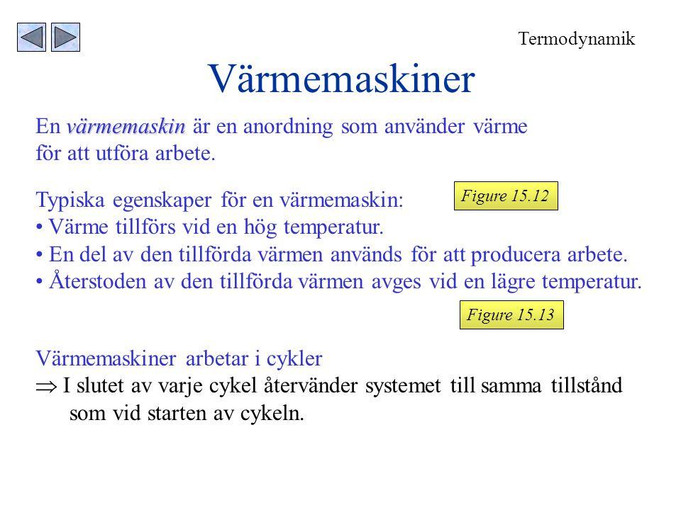 Värmemaskiner värmemaskin En värmemaskin är en anordning som använder värme för att utföra arbete. Typiska egenskaper för en värmemaskin: • Värme till