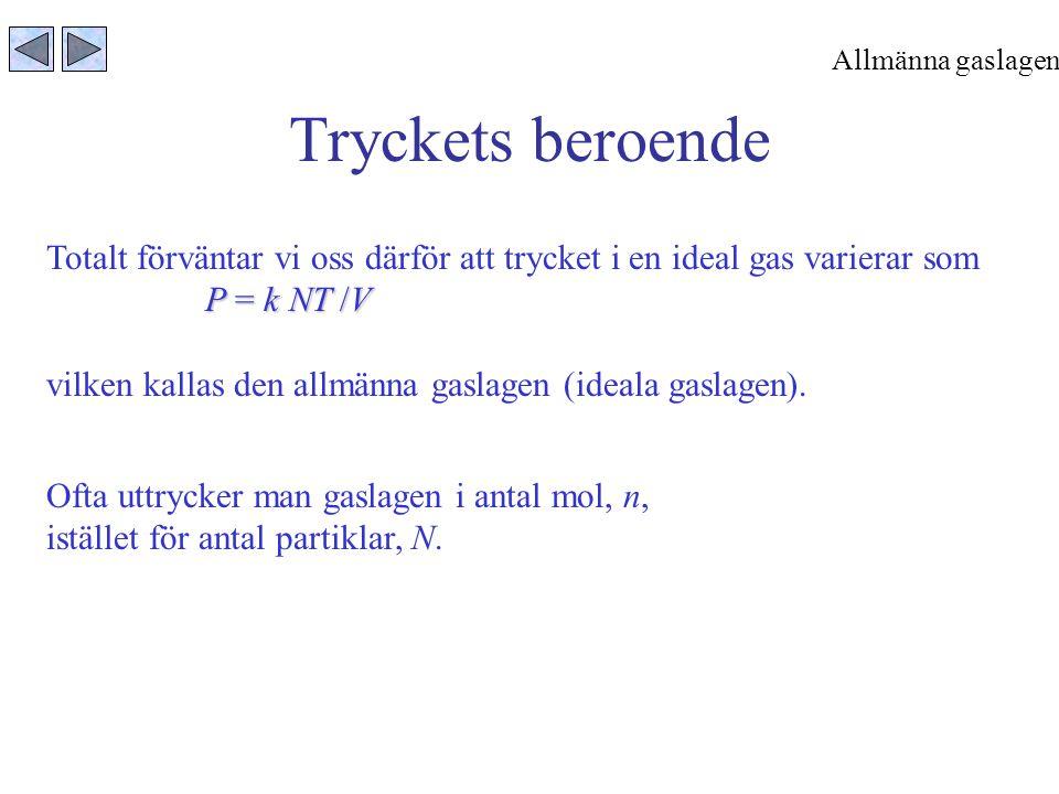 Tryckets beroende Totalt förväntar vi oss därför att trycket i en ideal gas varierar som P = k NT /V vilken kallas den allmänna gaslagen (ideala gasla