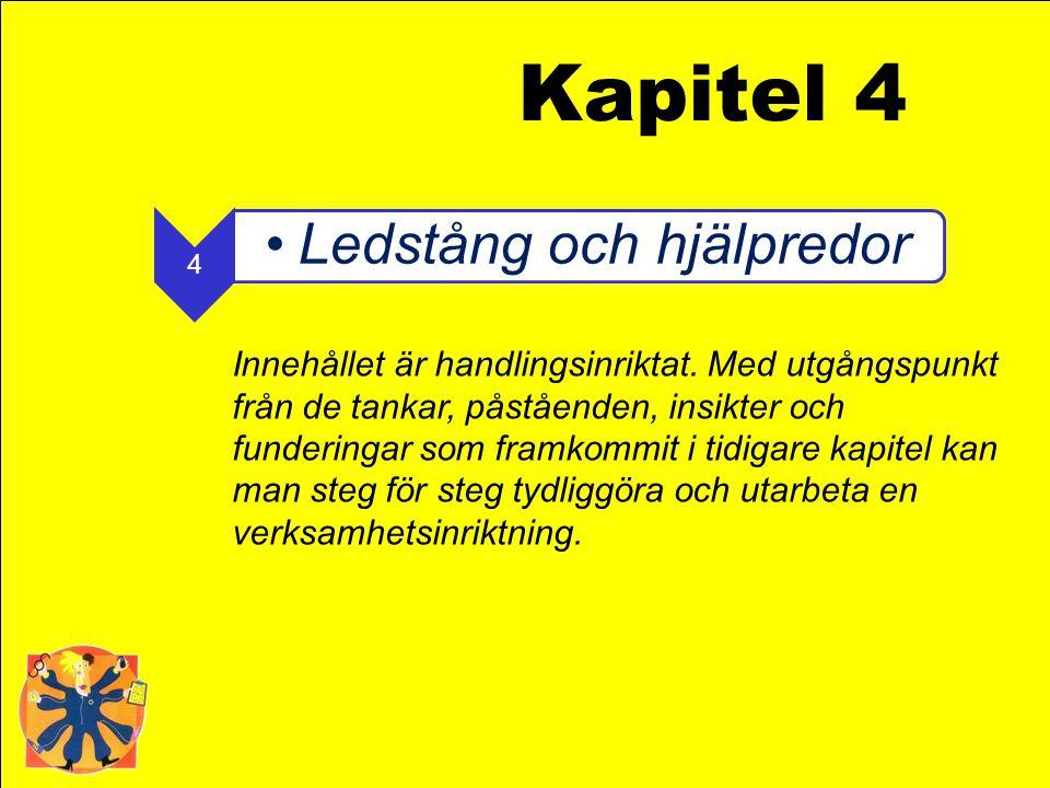 4 •Ledstång och hjälpredor Kapitel 4 Innehållet är handlingsinriktat. Med utgångspunkt från de tankar, påståenden, insikter och funderingar som framko