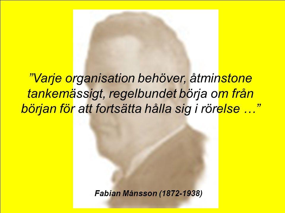 """""""Varje organisation behöver, åtminstone tankemässigt, regelbundet börja om från början för att fortsätta hålla sig i rörelse …"""" Fabian Månsson (1872-1"""