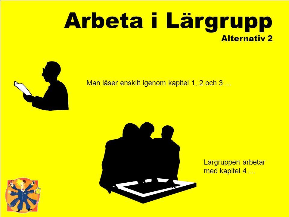 Arbeta i Lärgrupp Alternativ 2 Man läser enskilt igenom kapitel 1, 2 och 3 … Lärgruppen arbetar med kapitel 4 …