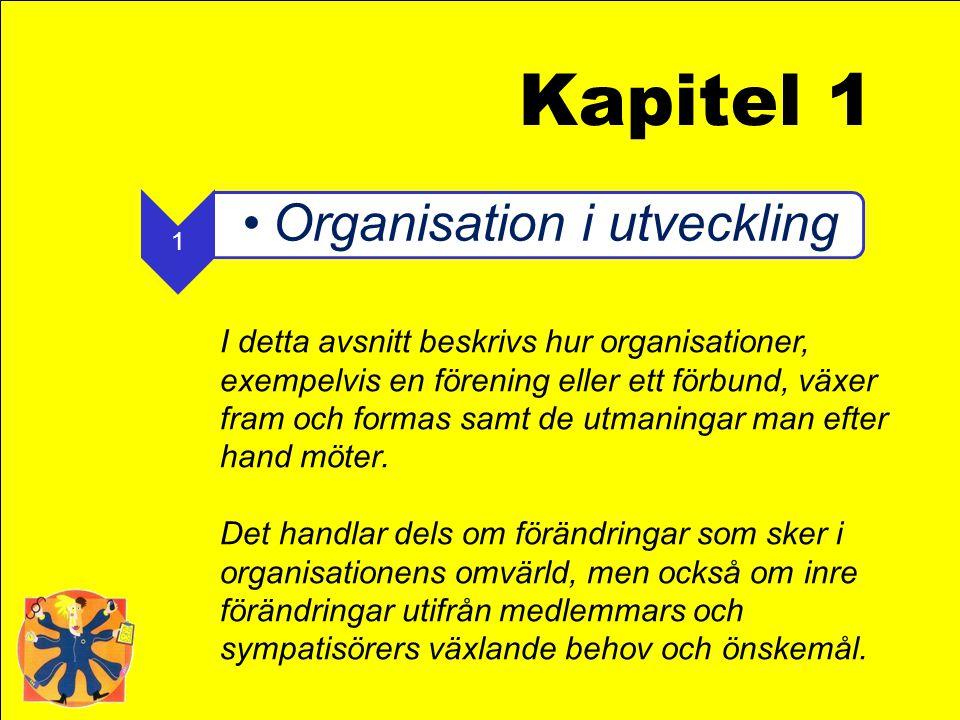 1 •Organisation i utveckling I detta avsnitt beskrivs hur organisationer, exempelvis en förening eller ett förbund, växer fram och formas samt de utma