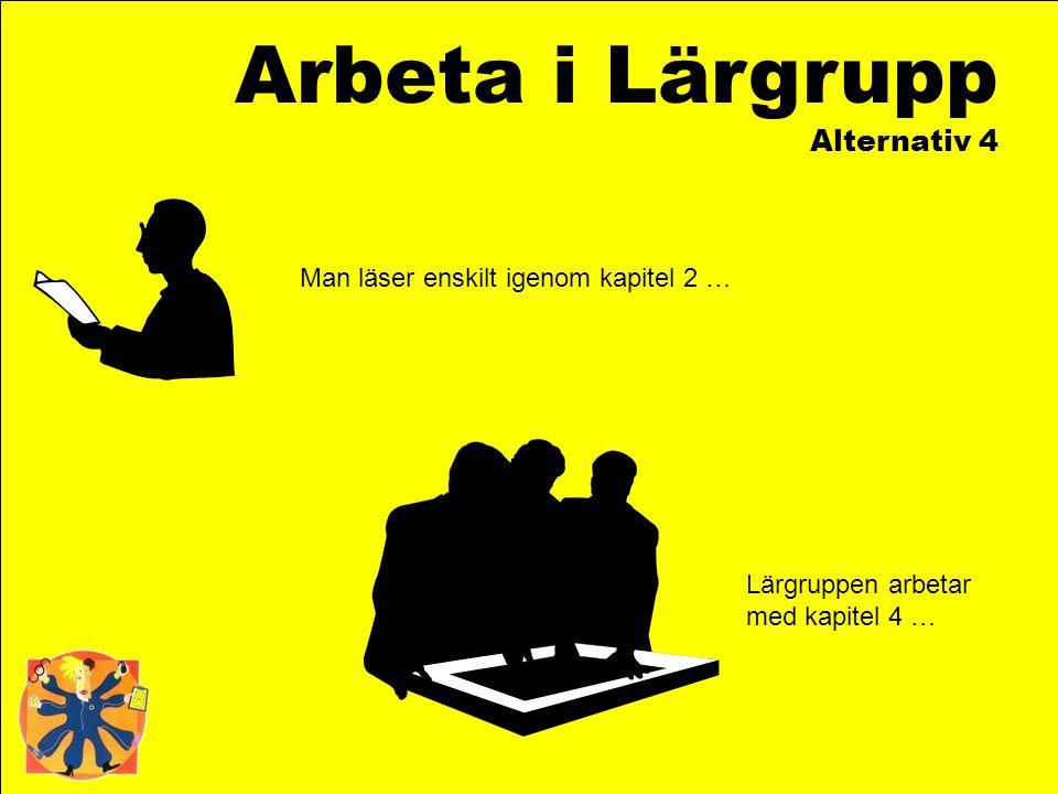 Arbeta i Lärgrupp Alternativ 4 Man läser enskilt igenom kapitel 2 … Lärgruppen arbetar med kapitel 4 …