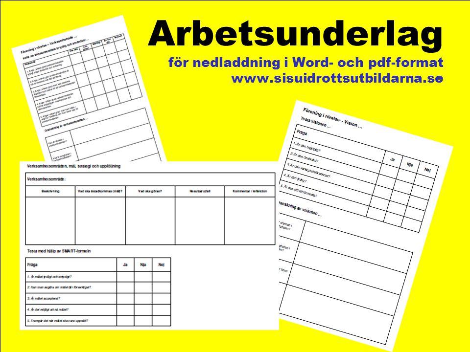 Arbetsunderlag för nedladdning i Word- och pdf-format www.sisuidrottsutbildarna.se