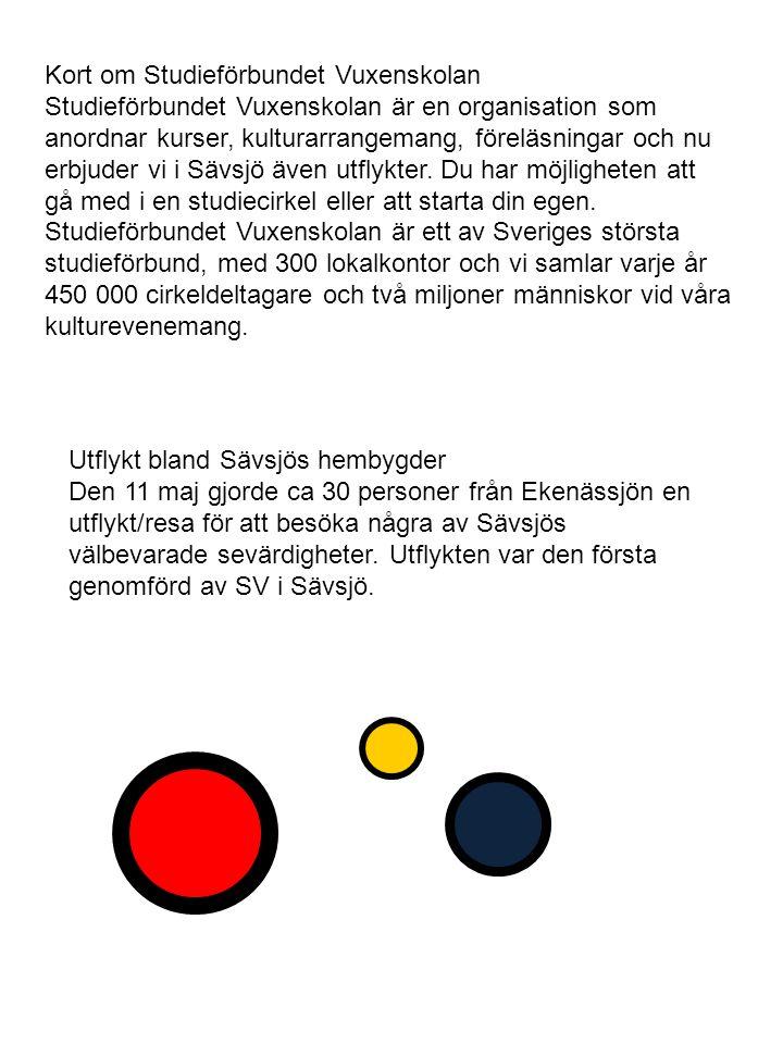 Kort om Studieförbundet Vuxenskolan Studieförbundet Vuxenskolan är en organisation som anordnar kurser, kulturarrangemang, föreläsningar och nu erbjuder vi i Sävsjö även utflykter.