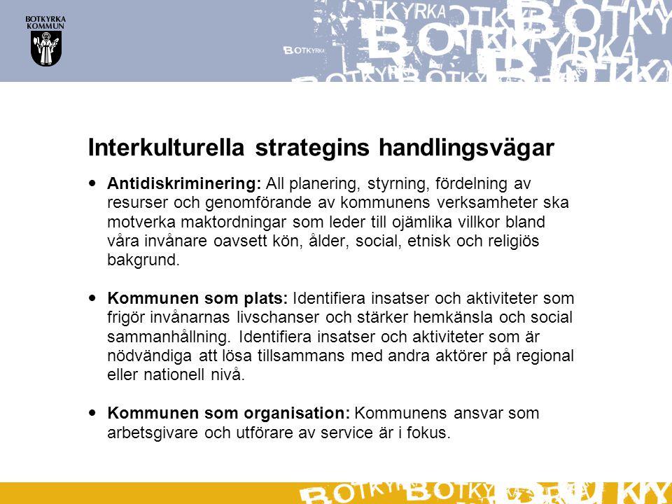 Interkulturella strategins handlingsvägar  Antidiskriminering: All planering, styrning, fördelning av resurser och genomförande av kommunens verksamh