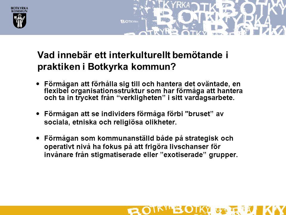 Vad innebär ett interkulturellt bemötande i praktiken i Botkyrka kommun?  Förmågan att förhålla sig till och hantera det oväntade, en flexibel organi