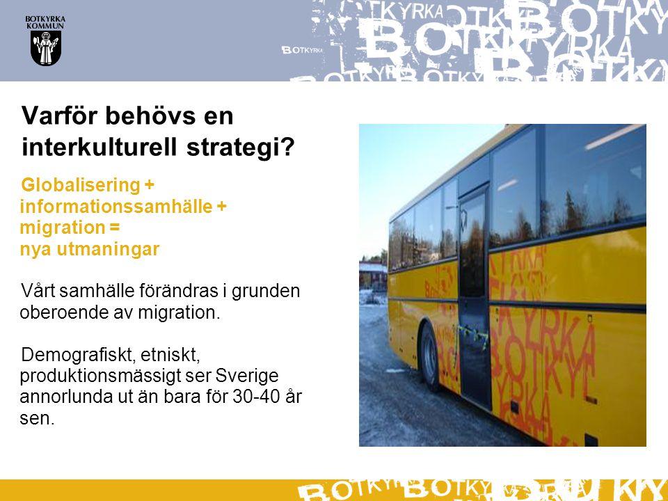 Varför behövs en interkulturell strategi? Globalisering + informationssamhälle + migration = nya utmaningar Vårt samhälle förändras i grunden oberoend