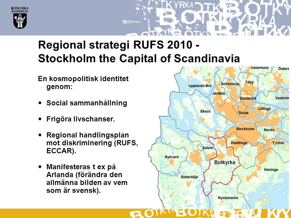Regional strategi RUFS 2010 - Stockholm the Capital of Scandinavia En kosmopolitisk identitet genom:  Social sammanhållning  Frigöra livschanser. 
