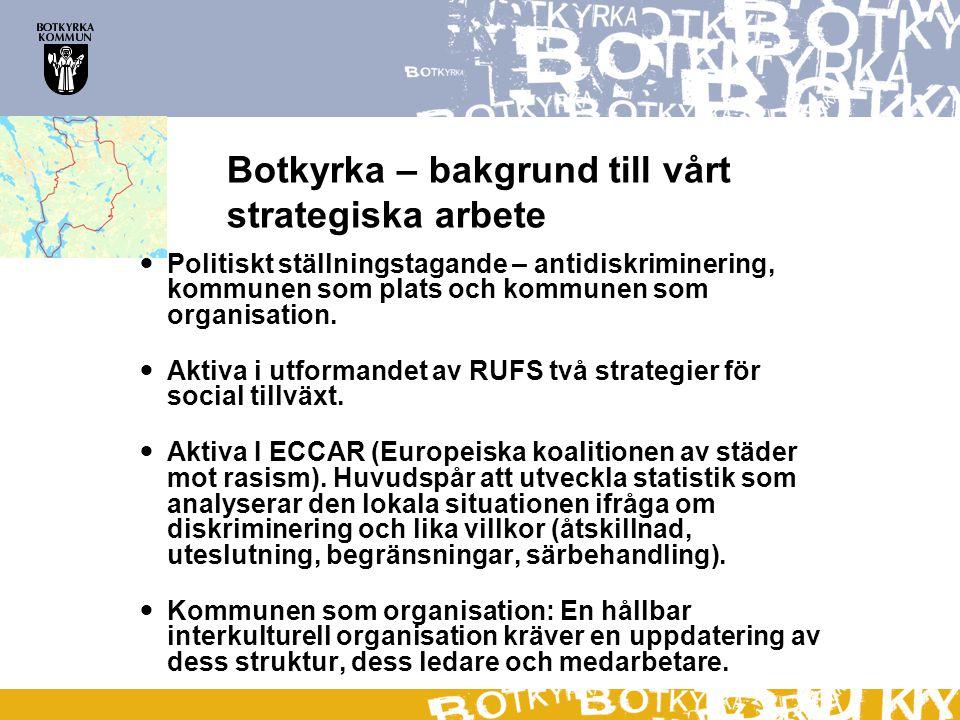 Botkyrka – bakgrund till vårt strategiska arbete  Politiskt ställningstagande – antidiskriminering, kommunen som plats och kommunen som organisation.