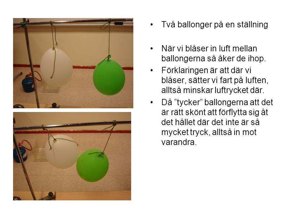 •Två ballonger på en ställning •När vi blåser in luft mellan ballongerna så åker de ihop. •Förklaringen är att där vi blåser, sätter vi fart på luften