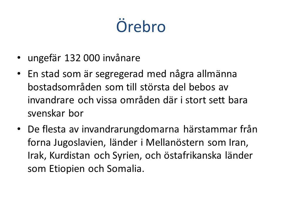 Örebro • ungefär 132 000 invånare • En stad som är segregerad med några allmänna bostadsområden som till största del bebos av invandrare och vissa omr