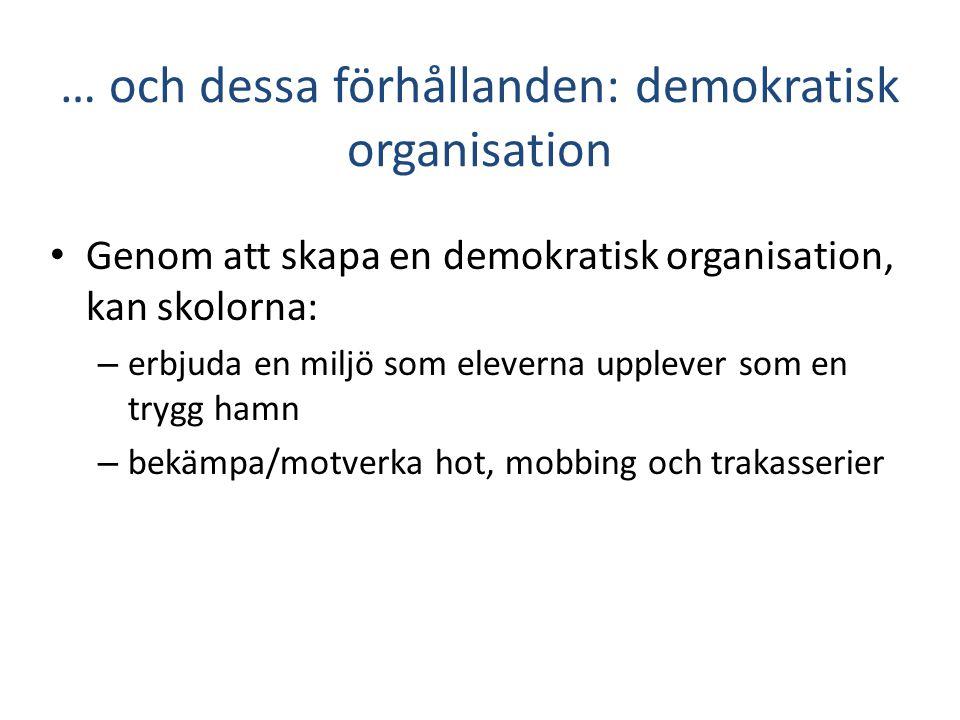 … och dessa förhållanden: demokratisk organisation • Genom att skapa en demokratisk organisation, kan skolorna: – erbjuda en miljö som eleverna upplev