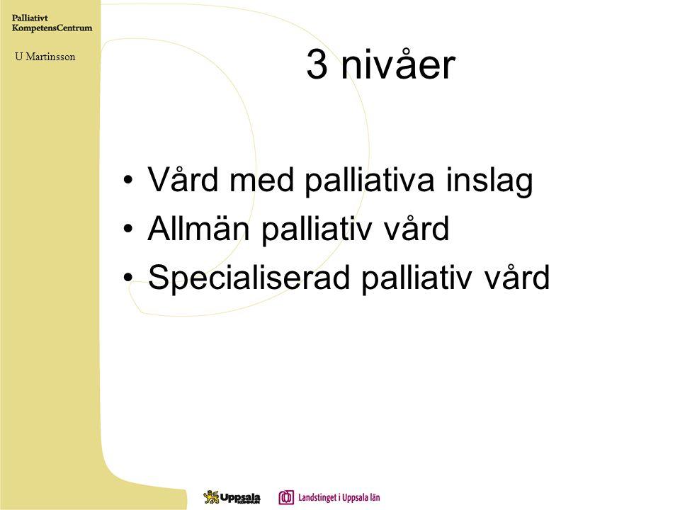 3 nivåer •Vård med palliativa inslag •Allmän palliativ vård •Specialiserad palliativ vård U Martinsson