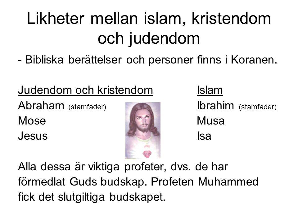 Likheter mellan islam, kristendom och judendom - Bibliska berättelser och personer finns i Koranen. Judendom och kristendomIslam Abraham (stamfader) I