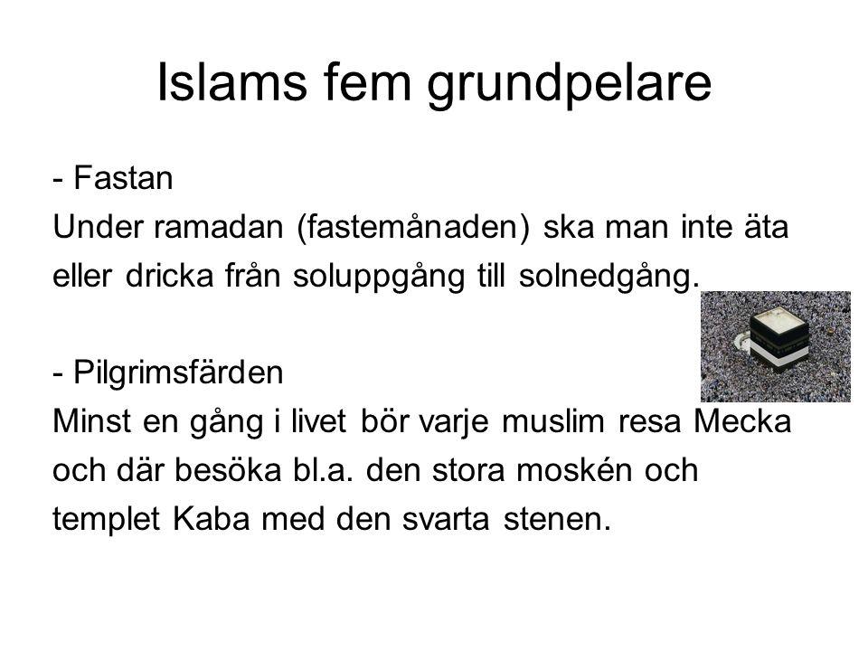 Islams fem grundpelare - Fastan Under ramadan (fastemånaden) ska man inte äta eller dricka från soluppgång till solnedgång. - Pilgrimsfärden Minst en