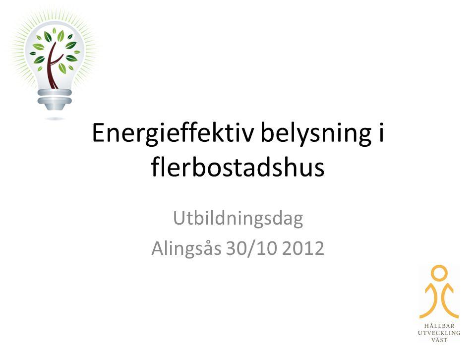 Energieffektiv belysning i flerbostadshus Utbildningsdag Alingsås 30/10 2012